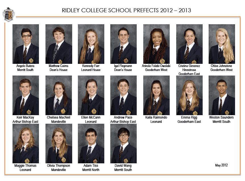 Ridley College Prefects 2012-2013