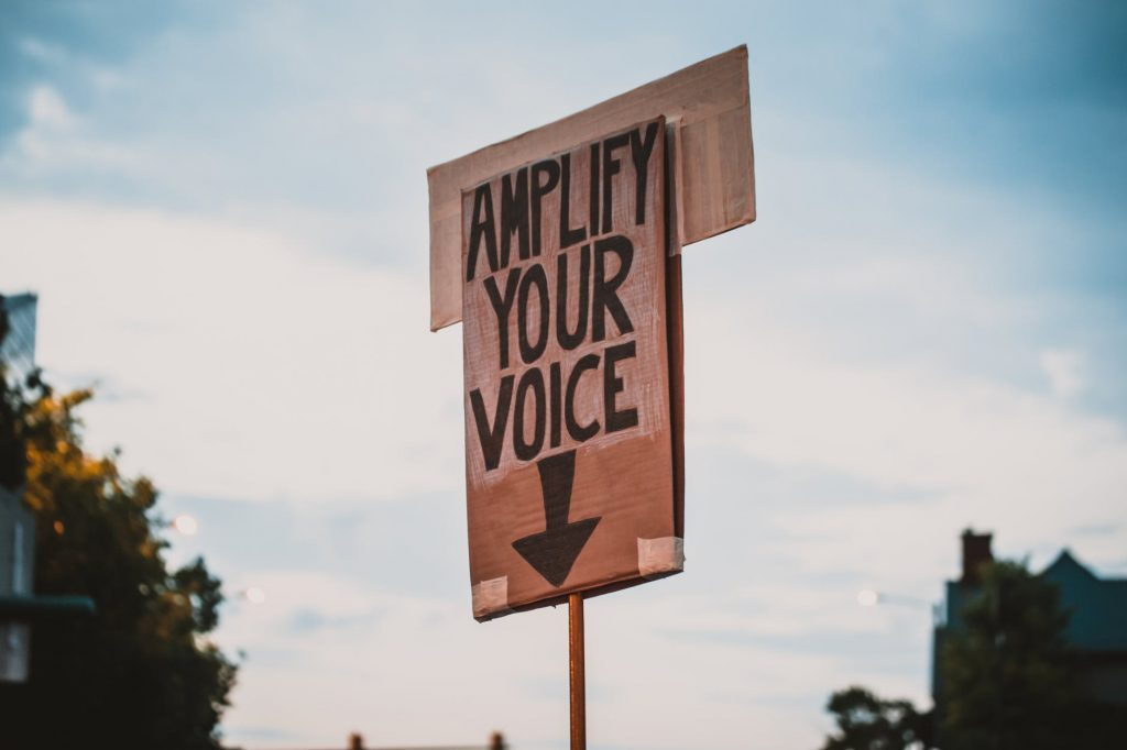 cardboard sign with 'amplify your voice' and a downward facing arrow written in marker